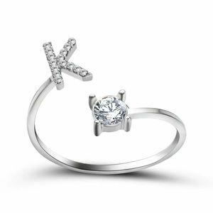 NEW! Letter K Ring women's silver CZ rhinestone